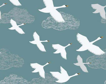 Swan Fabric, Lewis & Irene Down by the River A221 2 Swans in Flight on Teal, Swan Quilt Fabric, Bird Fabric, Waterfowl, Cotton Yardage