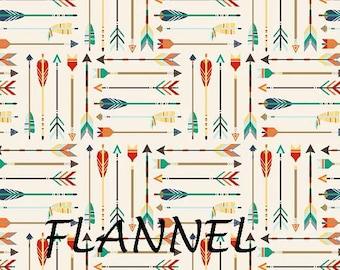Flannel Arrow Fabric, High Adventure, Riley Blake F5551 Arrows Cream, Wilderness Flannel Fabric,  Arrow Flannel, Cotton
