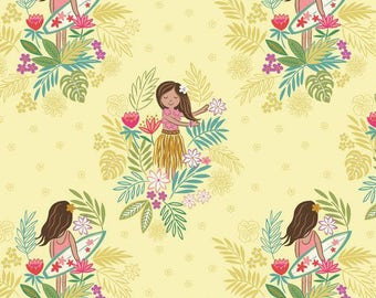 Island Girl Fabric, Lewis & Irene Fabric A191 2, Hula, Surfer Girl Fabric, Yellow Tropical Quilt Fabric, Beach Fabric, Girl's Fabric, Cotton