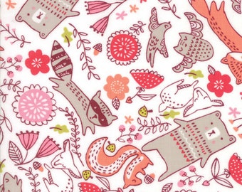 Woodland Animal Fabric, Moda Just Another Walk in the Woods, 20523 11 Stacy Iest Hsu, Baby & Childrens Quilt Fabric, Bear,  Bunny, Cotton
