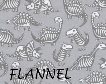 Gray Dinosaur Flannel Fabric, Timeless Treasures Dino CF5603, Flannel Dinosaur Quilt Fabric, Dinosaur Skeletons, Cotton Flannel Yardage