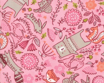 Pink Baby Fabric, Moda Just Another Walk in the Woods, 20523 12 Stacy Iest Hsu, Woodland Animal Childrens Quilt Fabric, Cotton