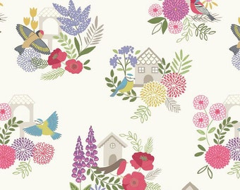 Summer Floral Quilt Fabric, Lewis and Irene Grandma's Garden A198 1, Birds & Flowers Quilt Fabric, Bird Houses, Floral Fabric, Cotton