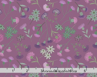 Purple Floral Fabric, Thistle Quilt Fabric, Lewis & Irene Fabric A239 2, Celtic Blessings, Purple Flowers Fabric, Cotton