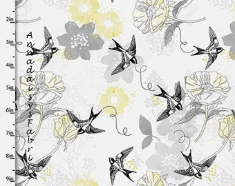 Yellow, Black & Gray Floral and Bird Fabric, Bird Quilt Fabric, Quilters Palette Marbella Collection 12630 Gray, Floral Quilt Fabric, Cotton