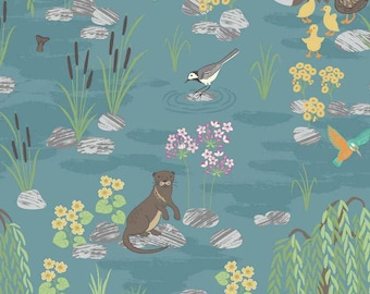 Otter Fabric, Lewis & Irene Fabric, Down by the River A219 2 Teal, Otter Quilt Fabric,  Flowers, Ducks, Hummingbirds, Cattails, Cotton