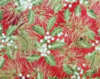 Gold Metallic Holly & Pine Cones Fabric, Red Rooster Woodland Christmas 24469, Elegant Metallic Christmas Fabric, Pinecones, Cotton