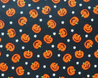 "Mini Jack-O-Lanterns Fabric, Timeless Treasures KIDZ C2276, Pumpkins, Halloween Fabric, Cotton, 16"" Remnant, 25% Off"