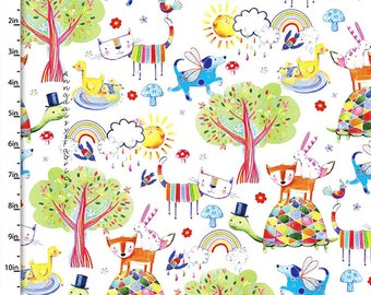 Whimsical Animal Fabric, Colorful Baby & Children's Fabric, Quilters Palette Color Me Fun 12719 White, Animal Quilt Fabric, Cotton