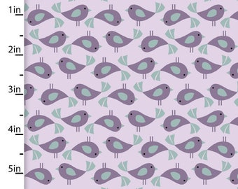 Purple Bird Fabric, Lavender Bird Quilt Fabric, 3 Wishes Fabric Pippit Moesby 12307, Mosbey Flipped Chicks, Cotton