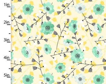 Gold & Aqua Floral Fabric, Floral Quilt Fabric, 3 Wishes Songbirds Collection 12235, Woodland Fabric, Aqua Flowers Fabric, Cotton Yardage