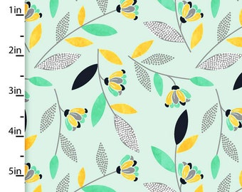 Aqua Floral Fabric, Gray, Gold & Aqua Floral Quilt Fabric, 3 Wishes Songbirds Collection 12236, Woodland Fabric, Cotton Yardage