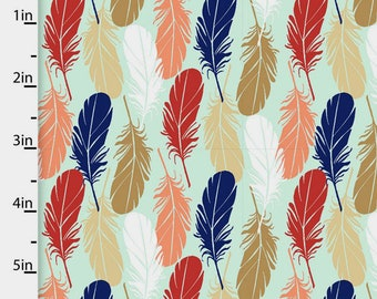 Southwestern Feather Fabric, Feather Quilt Fabric, 3 Wishes Pachua 12942 Mint, Coral, Navy, Southwest Fabric, Cotton Yardage