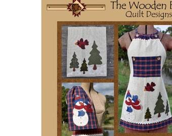 Christmas Snowman Apron Pattern, TWBA03 Just 2 Tea Towels Wooden Bear Quilt Designs, Tea Towel Pattern, Full & Half Apron, Sale