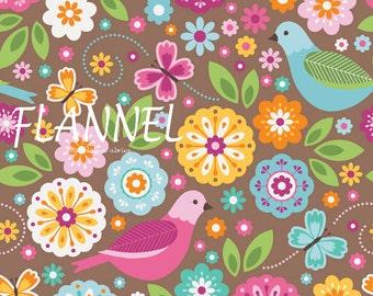 Flowers & Birds Flannel Fabric, Riley Blake Summer Song F4620 Brown, Zoe Pearn, Folk Art Flower Flannel Quilt Fabric, Cotton Flannel Yardage