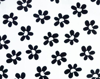 Black & White Floral Fabric, Daisy Fabric, Benartex Sun-Kissed 3329 Michele D'Amore, Black and White Daisy Quilt Fabric, Cotton