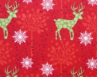 Reindeer and Snowflakes Fabric, Lewis & Irene Fabric, CHR001 Noel, Red Woodland Christmas Quilt Fabric, Cotton