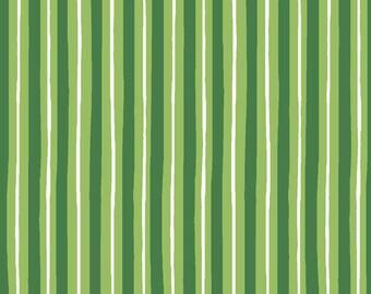 Green Stripe Fabric, Maywood Studios KimberBell Basics MAS8242 G, St. Patrick's Day Fabric, Green & White Stripe Quilt Fabric, Cotton