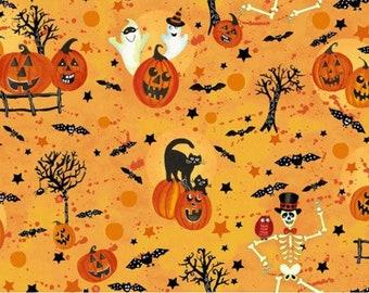 Pumpkins Henry Glass Fabric by the yard TheFabricEdge Pumpkin Fabric Cotton Scroll Metallic Halloween Fabric Fright Night Fall