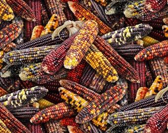 Yellow Corn Fabric Material Garden Vegetables Fall Summer Farm Metallic Benartex