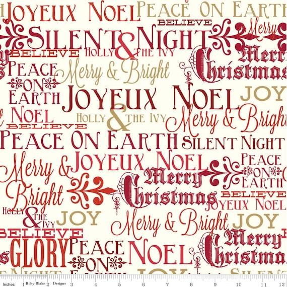 christmas words fabric riley blake postcard for santa c4751 etsy