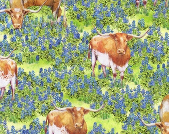 Longhorn Cattle Fabric, Blue Floral Fabric, Robert Kaufman 20170 Mary Lake Thompson, Texas Bluebonnets Quilt Fabric by the Yard, 100% Cotton