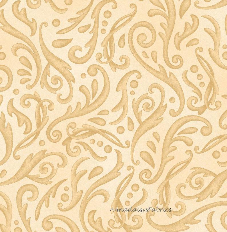 Cream Swirl Quilt Fabric Cream Scroll  Fabric Henry Glass Key To My Heart 9887-44 Cotton Tan /&  Cream Blender Fabric by the Yard