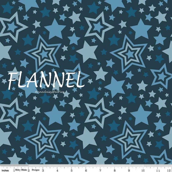 New Starry Nights Blue with White Stars Flannel Fabric by the 1//2 yard