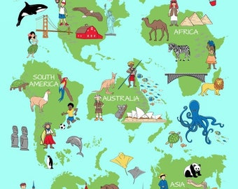 large world map fabric panel we share one world windham fabrics 42714p x