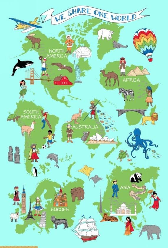 Large world map fabric panel we share one world windham publicscrutiny Gallery