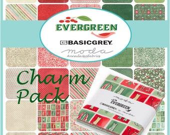 "Moda Evergreen Charm Pack, 30400PP Basic Grey, 42 Pre-cut 5"" Squares, Christmas Charm Pack, Moda Fabric Bundle, Cotton"