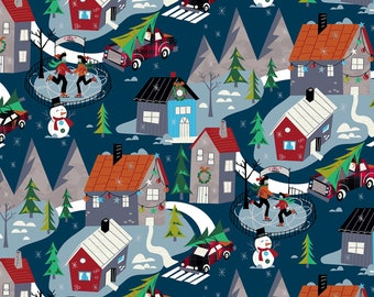 Retro Christmas Village Fabric, Windham Winter Towne 52630-2, Skaters, Retro Red Truck, Christmas Quilt Fabric by the Yard, 100% Cotton