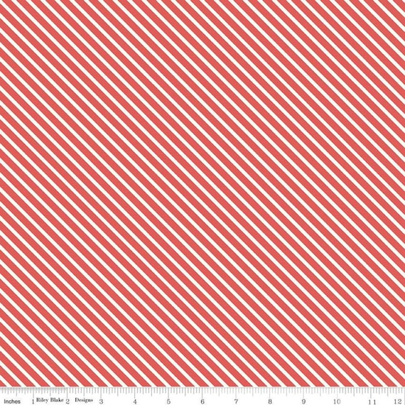 Patriotic Christmas Candy Cane Stripe Holiday Red White Cotton Fabric Yard