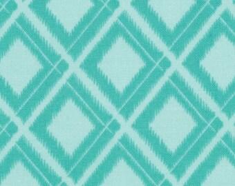 Aqua Fabric, Moda Simply Color 10806 V & Co., Tone on Tone Aqua Diamond Quilt Fabric, Cotton