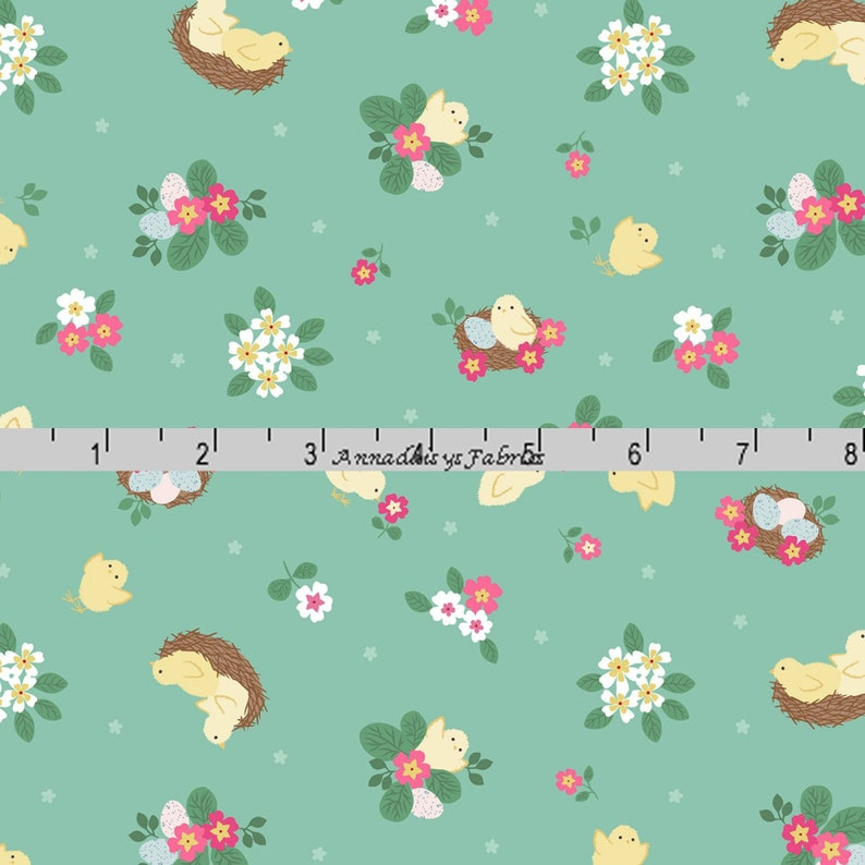 Eggs Easter Quilt Fabric by the Yard Flowers Lewis /& Irene Bunny Hop A528-3 Spring Green 100/% Cotton Baby Chicks Fabric Floral Fabric