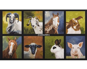 Farm Animal Quilt Fabric Panel, Robert Kaufman Down On The Farm, 16513, Sheep, Goat, Horse, Rabbit, Pig, Cheri Wollenberg, Cotton