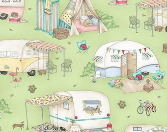Green Retro Camper Quilt Fabric, Travel Trailer, Glamping, RV, Maywood Studio Roam Sweet Home, MAS8220 G, Glamour Trailers, Cotton