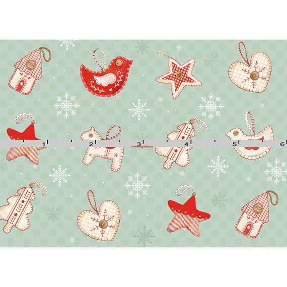 HOFFMAN OH WHAT FUN P4351 NATURAL CHRISTMAS ORNAMENT  FABRIC BTY