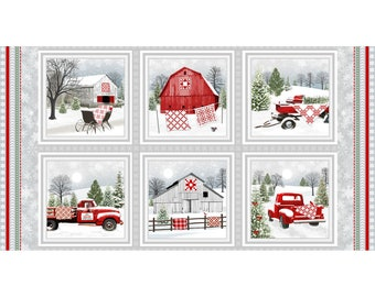"""Christmas Fabric Panel, Henry Glass Holiday Heartland 9208, Red Truck, Red Wagon, Red Barn Quilt Fabric Panel, 100% Cotton, 23"""" x44"""""""
