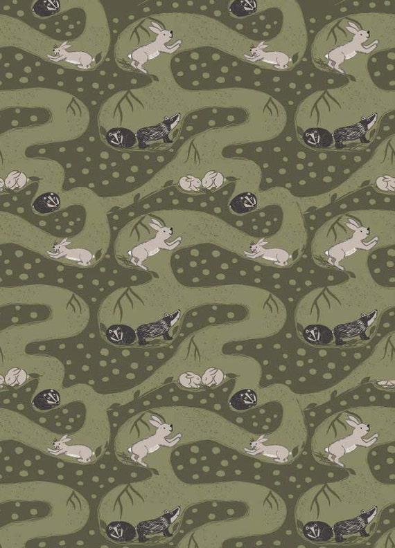 Owls on Midnight Blue Enchanted Forest 100/% Cotton Fabric Lewis and Irene