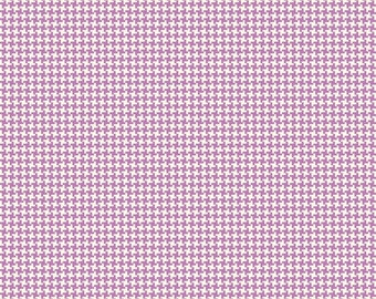 Purple Houndstooth Fabric, Penny Rose Hope Chest C4256 Purple, Erin Turner, Light Purple and White Houndstooth Check Quilt Fabric, Cotton