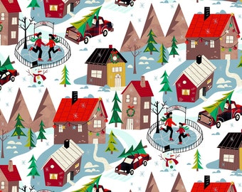 Retro Christmas Village Fabric, Windham Winter Towne 52630-1, Skaters, Retro Red Truck, Christmas Quilt Fabric by the Yard, 100% Cotton