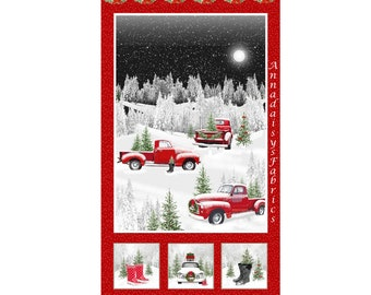 """Retro Red Truck Christmas Fabric Panel, Henry Glass Tradition Continues II 9732P-88, Boots, Holiday Quilt Fabric Panel, 100% Cotton, 24""""x44"""""""