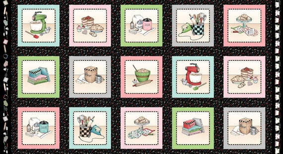 Flour Eggs Butter Red Retro Baking Fabric Maywood Studios Happiness is Homemade 9865R Cooking Kitchen Quilt Fabric by the Yard Cotton