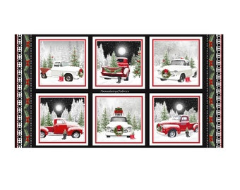 """Retro Red Truck Christmas Fabric Panel, Henry Glass Tradition Continues II 9723P-88, Old Trucks Quilt Fabric Panel, 100% Cotton, 24"""" x 44"""""""