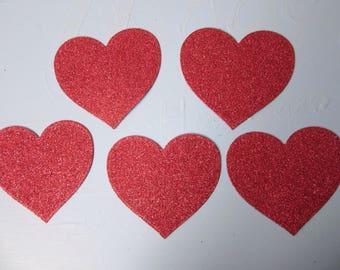 5 Large hearts, 9.4cm across