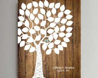 50 Guest Wedding Guest Book Wood Wedding Tree Wedding Guestbook Alternative Guestbook Poster Wedding Guestbook Poster - Wood