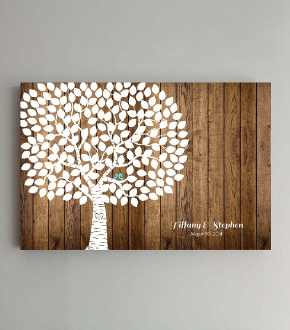 Navy Wedding Guest Book Tree Poster 24x36 Woodgrain look Wedding Guest book Alternative for 250 Guests