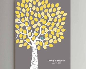 100 Guest Wedding Guest Book Wedding Tree Wedding Guestbook Alternative Guestbook Poster Wedding Guestbook Poster - Gray Yellow Leaves