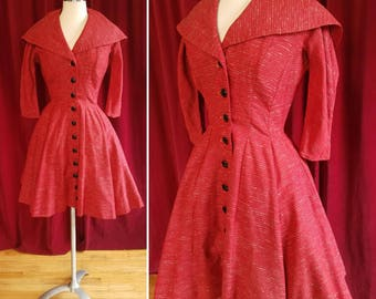 Button Up Red 1950s Dress with Large Collar. Full skirted Red 50s Dress with built in Petticoat.